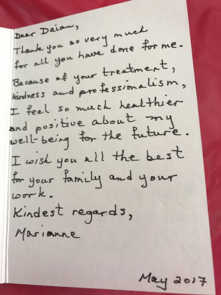 Thank you card from Maranne